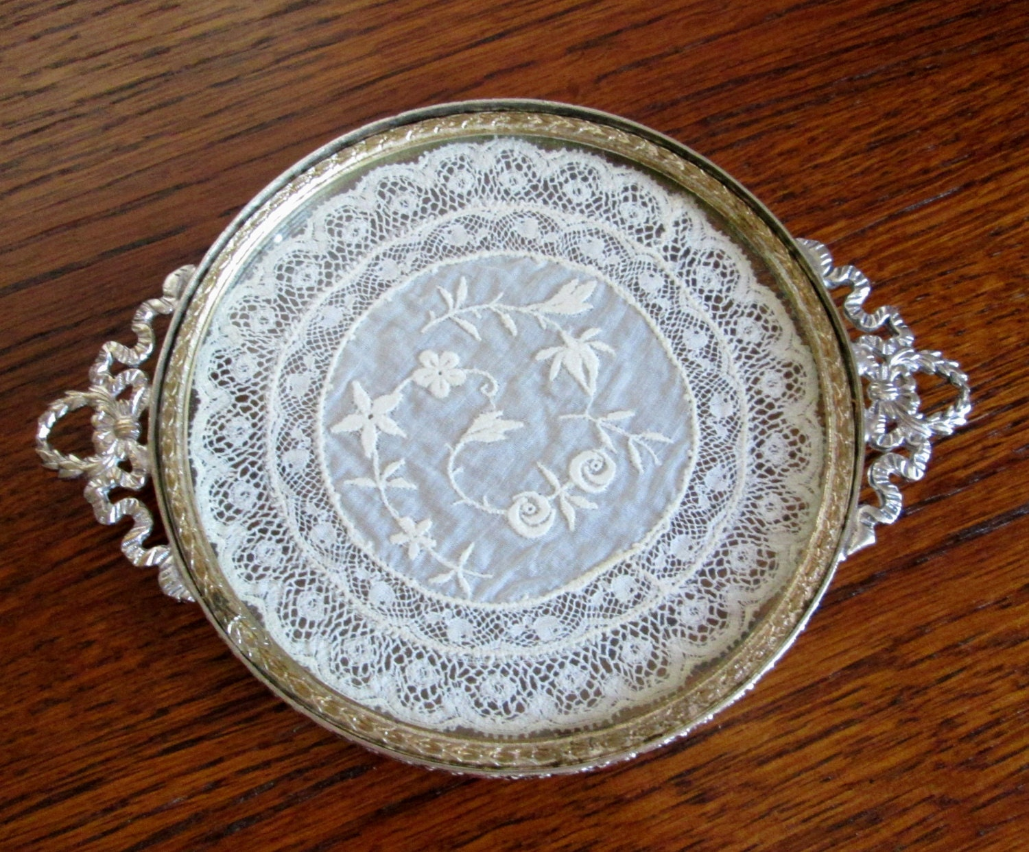 Antique vanity tray with lace insert - Like This Item