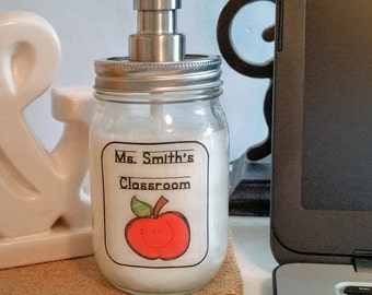 Mason Jar Soap Dispenser / Teacher Soap Dispenser / Teacher Gift / Classroom Soap Dispenser / Apple Soap Dispenser