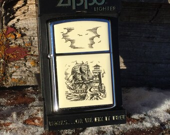 Collectible Zippo Lighter 1988 Scrimshaw with Chrome case