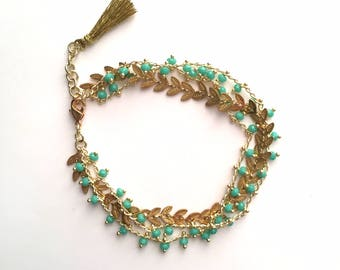 PAULETTE - gold and green jade BRACELET