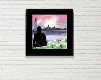 Morning Sun Art Print, mixed media, dawn print, surreal landscape, cityscape, fantasy art, surreal art, sunrise art
