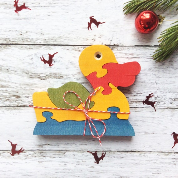 Christmas Gift, Wooden Puzzle Duck Toy, Natural, Educational Toy for Kids, Toddler Gift, Jigsaw Puzzle, Girl Boy Gift, Montessori Toy