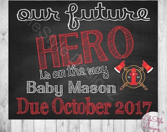 Chalkboard Pregnancy Announcement - Fire Fighter Baby Announcement - Were Pregnant - FireFighter - Photo Prop - Hero On The Way - Printable