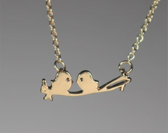 Lovebirds Anniversary Necklace Gold Plated Necklace Charm and Chain