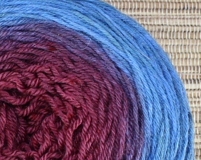 Hand dyed yarn - Ombre - 100g superwash merino/nylon, sock weight (4 ply) in 'Cornflower/Merlot'.