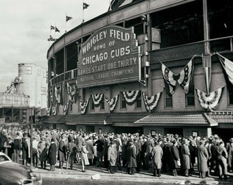 Chicago Cubs Wrigley Field vintage photo baseball stadium antique photograph sports 1930s-PRINT