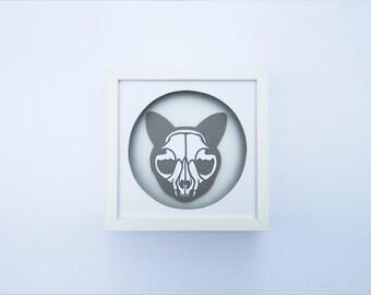 Handmade Cat Skull – Grey – Paper Art