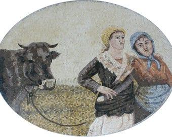 Country Life Two Peasants Bumpkins Big Thor Home Design Marble Mosaic FG866