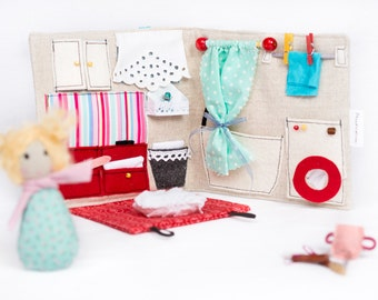 Sewn Fabric Travel Dollhouse (Turquois U0026 Red) With Accessories / Portable  Dollhouse / Travel