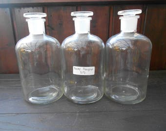 3 apothecary bottles