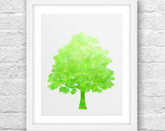 Tree Art, Abstract Tree, Tree Green-Lime , Tree Lime, Tree Printable, Tree 8x10, Modern Tree, Nature Art,8x10 Printable, Green Nature