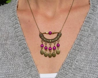 Necklace ethnic Bohemian beads plum brass bronze ethnic boho purple wood bead antique brass
