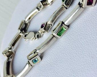 Vintage 925 Sterling Silver Aquamarine Peridot Amethyst citrine tennis bracelet 10.4g 6mm 7 3/4 inch birthday anniversary wedding gift