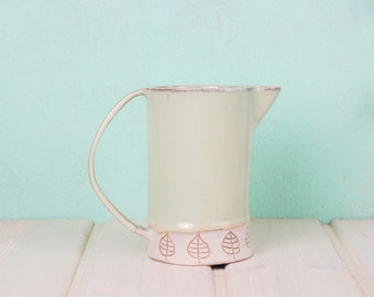 Ceramic jug mint with leaf pattern-sgraffito white-country house style-wedding gift-carafe-production on order