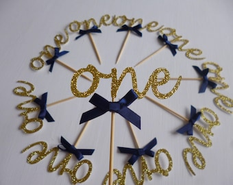 One Cupcake Toppers, First Birthday, 1st, Gold Glitter Picks, Party Decoration, Princess Party, Little Prince, Anniversary Cake Topper