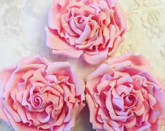 4 Fondant Roses II 4 Gumpaste Roses Edible Roses Edible Flowers Sugar Flowers Sugarpaste Flowers Cake Decorations Wedding Flowers