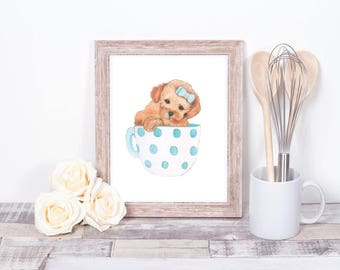 Teacup puppy print art child cute blue gift daughter niece