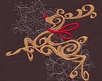Christmas Kitchen Towel,  Baroque Noel Reindeer Holiday Towel, Embroidered Kitchen Towel, Christmas Towel, Reindeer