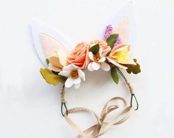 Easter Bunny Ears Flower Crown. Felt Flower Crown for Girls. Rabbit Ears Headband