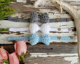 Boys Bow Tie Set / Custom Set of 3 / Newborn Boy Bow Ties / Boy Bow Ties / Easter Boy Outfit / Boy Easter Outfit / Newborn Boys Bow Tie