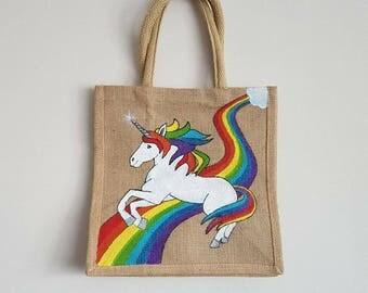 Rainbow Unicorn - Jute Bag - Unicorn Bag