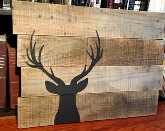 Rustic Deer Silhouette Pallet Sign