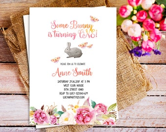 easter bunny birthday invite, some bunny birthday invitation, spring easter bunny invite, Floral spring birthday invitation, Printable Bunny