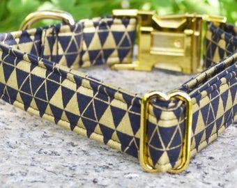 Geoffrey. Dog Collar, Triangle, Black, Metallic Gold, Girl, Boy, Gold Hardware, Metal Hardware