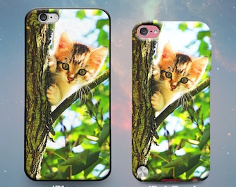 Cute Cat Kitten Whiskers Playing in a Tree Branch Leaves Summer Fun Love Pets Cool Rubber Case for iPhone 7 6s 6 Plus SE 5s 5 5c iPod Touch