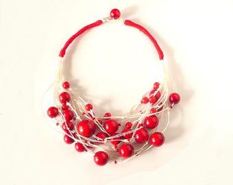 Linen bib  necklace,linen Necklaces,eco jewelry,natural jewelry, linen jewelry, linen, thread   white cord Bib necklace Handmade OOAK
