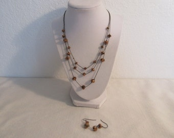 Vintage 3 Strand Adjustable Beaded Amber Necklace/Earring Set