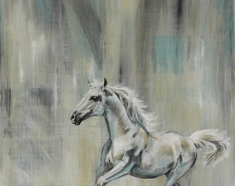 Horse painting, horse art, galloping horse, white horse art, original horse painting