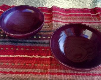 Pottery bowl set, ceramic bowl set, maroon bowls, medium size bowl, set of 2, salad bowl, pasta bowl