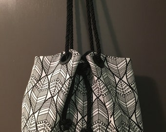 Black & White Tribal Print Squash Blossom Bag