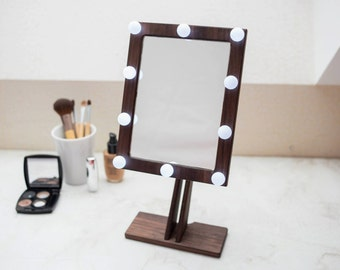 WALLNUT Makeup Mirror With Lights Hollywood Lighted Vanity Wood Bathroom
