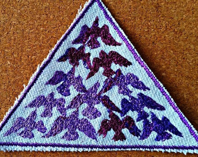 Bird Flock Purple Embroidered Vintage Graphic Upcycled Canvas Iron-On Jacket Patch