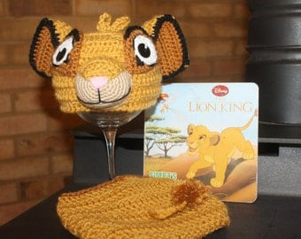 Lion King Simba hat set, SIMBA baby hat and diaper cover, BABY Simba hat photo prop, Baby Simba HAT