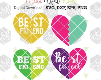 Best Friend SVG, heart svg, shirt design for baby & kids INSTANT DOWNLOAD vector files for cutting machines - svg, png, dxf, eps