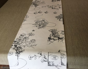"""Black and white table runner/ 13""""x102"""" large table runner/ reversible white and bkack table runner/ garden botanical print table runner"""