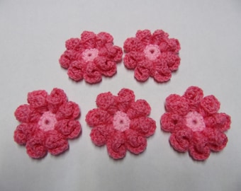 3d crocheted flower embellishment set of 5, pink and light pink, flower appliques, diy uses, hand crochet flowers, yarn flower, craft flower