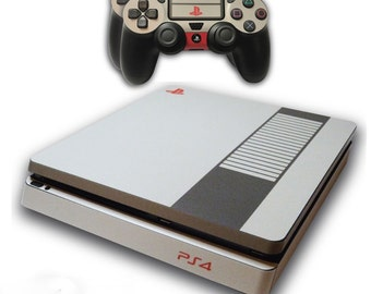 PS4 Slim Skin EXCLUSIVE RETRO NES Nintendo with 2 Controller Skins Playstation 4