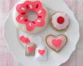 Hot Pink Tea Party Set with Donut, Heart and Cherry Cookies, Tea Bags
