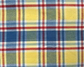 Handmade Vintage PLAID TABLECLOTH 100% Cotton - BEAUTIFUL!