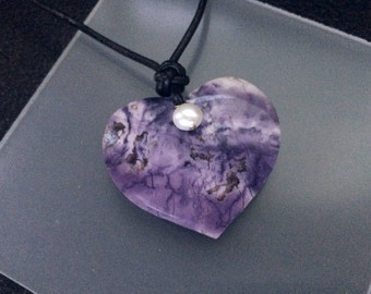 Large Natural Tiffany Stone Heart and White Pearl Pendant with Sterling Silver Black Leather Cord Necklace