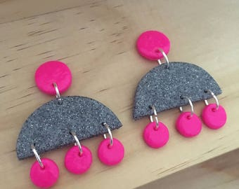 "Handmade statement dangle earrings // gifts for her // ""Granite hot pink"""