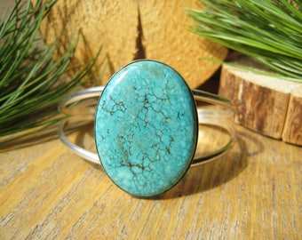 Turquoise and Sterling Silver Cuff Bangle Bracelet