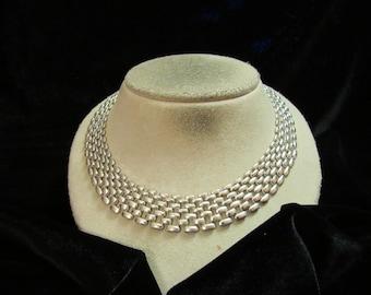 Vintage Chunky Silvertone Collar Necklace