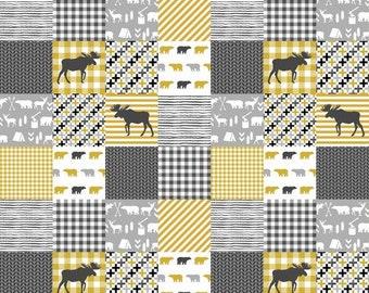 Custom bedding - mustard and grey crib bedding