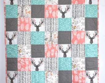Crib or toddler size Woodland Baby Quilt, Woodland Nursery, Modern Quilt, Minky, Blanket, deer, fawn, doe, going stag, coral, gold, floral