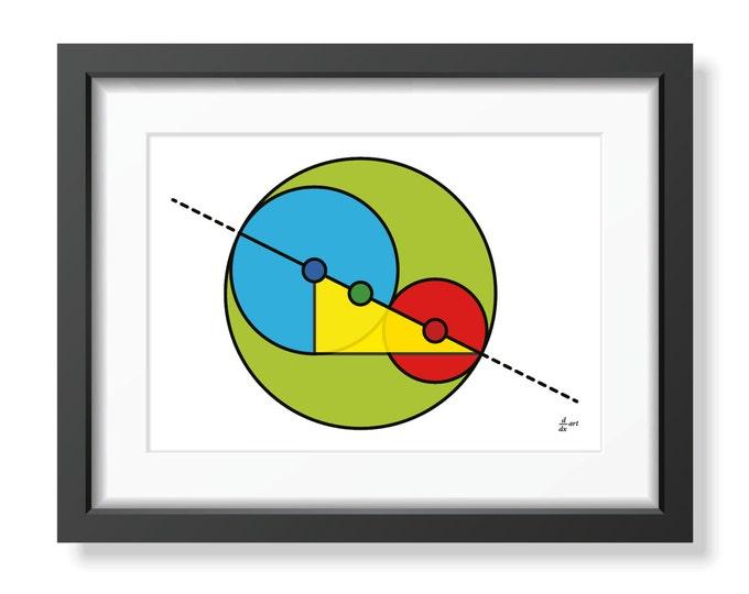 Golden Ratio Circles 02 [mathematical abstract art print, unframed] A4/A3 sizes